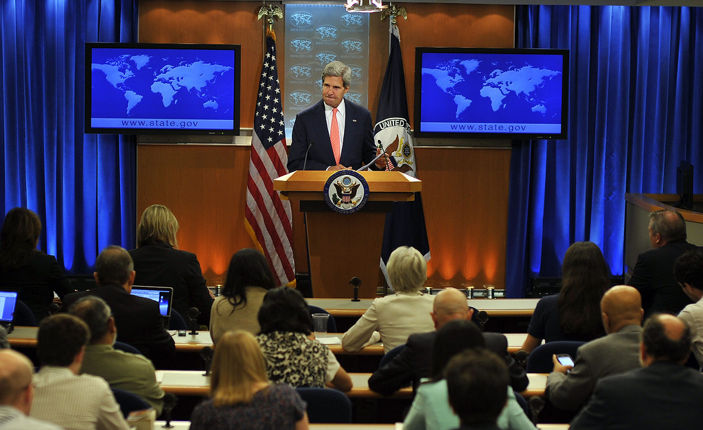Description of . US Secretary of State John Kerry speaks on Syria at the State Department in Washington, DC, on August 26, 2013. The United States said Tuesday that chemical weapons had been used against Syrian civilians and warned President Barack Obama would demand accountability for this