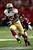 Tight end Vernon Davis #85 of the San Francisco 49ers runs after a catch in front of free safety Thomas DeCoud #28 of the Atlanta Falcons in the second quarter in the NFC Championship game at the Georgia Dome on January 20, 2013 in Atlanta, Georgia.  (Photo by Chris Graythen/Getty Images)