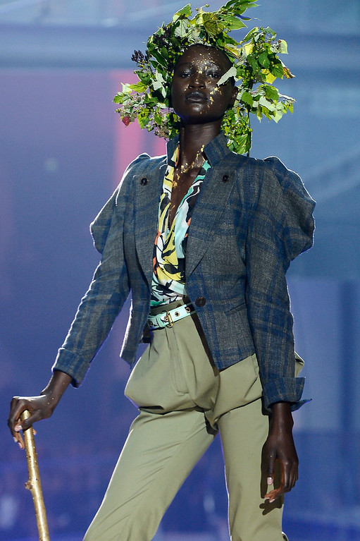 Description of . PARIS, FRANCE - SEPTEMBER 28:  A model walks the runway during Vivienne Westwood show as part of the Paris Fashion Week Womenswear Spring/Summer 2014 at Le Centorial on September 28, 2013 in Paris, France.  (Photo by Pascal Le Segretain/Getty Images)