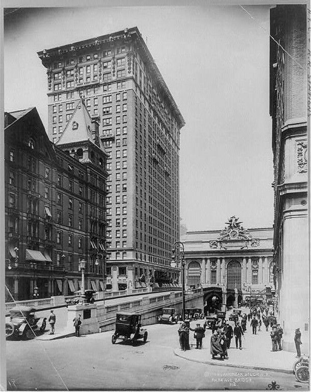 Description of . Grand Central Station, New York City: Park Ave. Bridge in foreground.; R.R. Station in background. Ca. 1919 (Library of Congress)