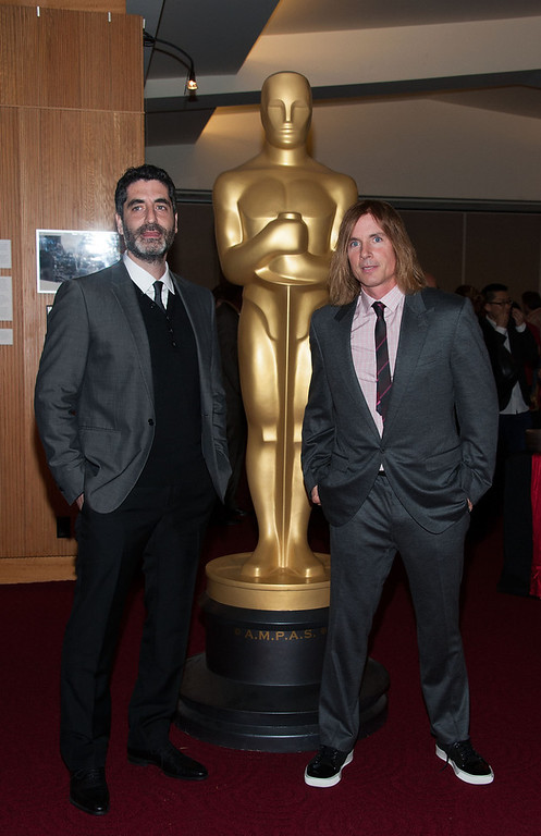 Description of . Mino Jarjoura and Bryan Buckley attends  The Academy Of Motion Picture Arts And Sciences Presents Oscar Celebrates: Shorts  at AMPAS Samuel Goldwyn Theater on February 19, 2013 in Beverly Hills, California. (Photo by Valerie Macon/Getty Images)