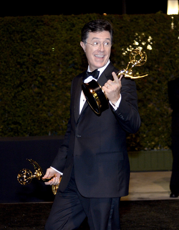 Description of . TV Show Host Stephen Colbert attends the Governors Ball during the 65th Annual Primetime Emmy Awards at Nokia Theatre L.A. Live on September 22, 2013 in Los Angeles, California.  (Photo by Kevork Djansezian/Getty Images)