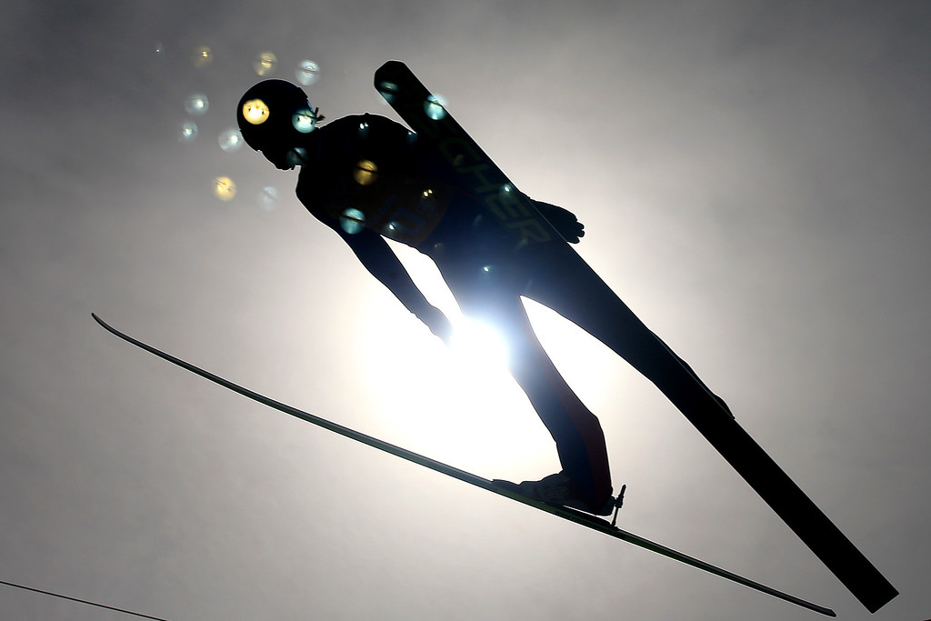 Description of . SOCHI, RUSSIA - FEBRUARY 20:  Haavard Klemetsen of Norway competes in the Nordic Combined Men's Team LH during day 13 of the Sochi 2014 Winter Olympics at RusSki Gorki Jumping Center on February 20, 2014 in Sochi, Russia.  (Photo by Richard Heathcote/Getty Images)