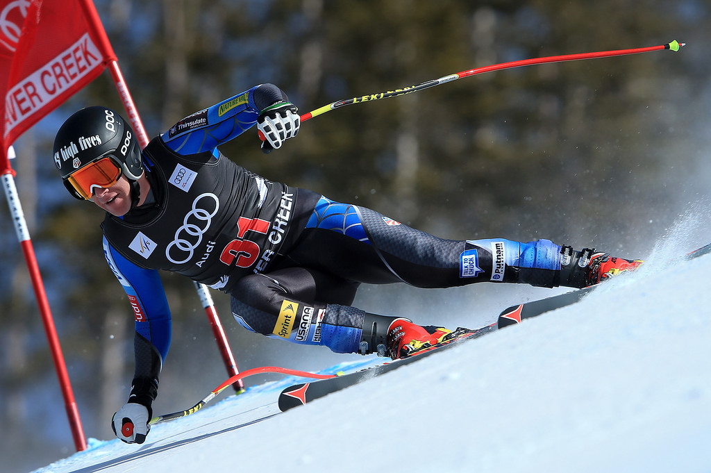 Description of . Marco Sullivan of the USA skis to 18th place in the men's downhill on the Birds of Prey at the Audi FIS World Cup on November 30, 2012 in Beaver Creek, Colorado.  (Photo by Doug Pensinger/Getty Images)