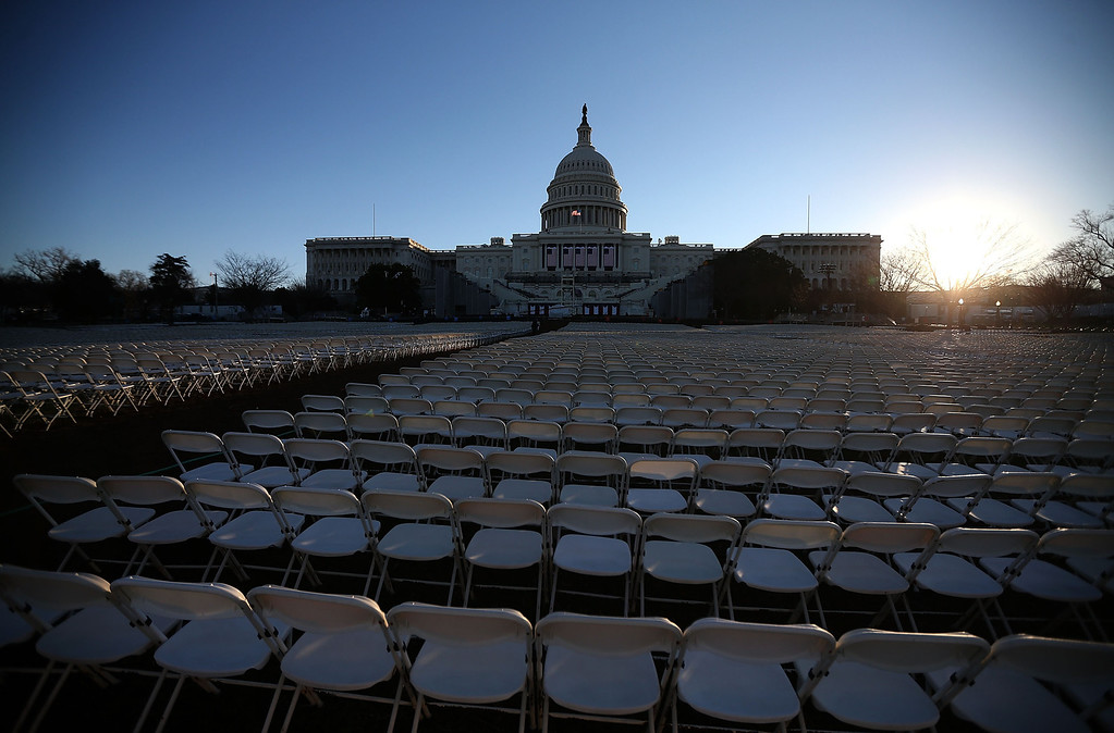 Description of . Chairs are set up in front of the U.S. Capitol Building for President Obama inauguration on January 20, 2013 in Washington, DC. Washington is preparing for the second inauguration of U.S. President Barack Obama, which will take place on January 21.  (Photo by Mark Wilson/Getty Images)
