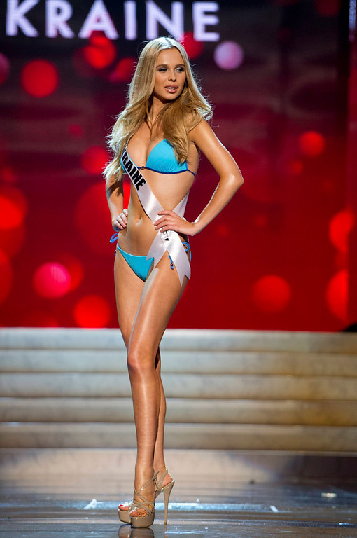 Description of . Miss Ukraine Anastasia Chernova competes in her Kooey Australia swimwear and Chinese Laundry shoes during the Swimsuit Competition of the 2012 Miss Universe Presentation Show at PH Live in Las Vegas, Nevada December 13, 2012. The 89 Miss Universe Contestants will compete for the Diamond Nexus Crown on December 19, 2012. REUTERS/Darren Decker/Miss Universe Organization/Handout