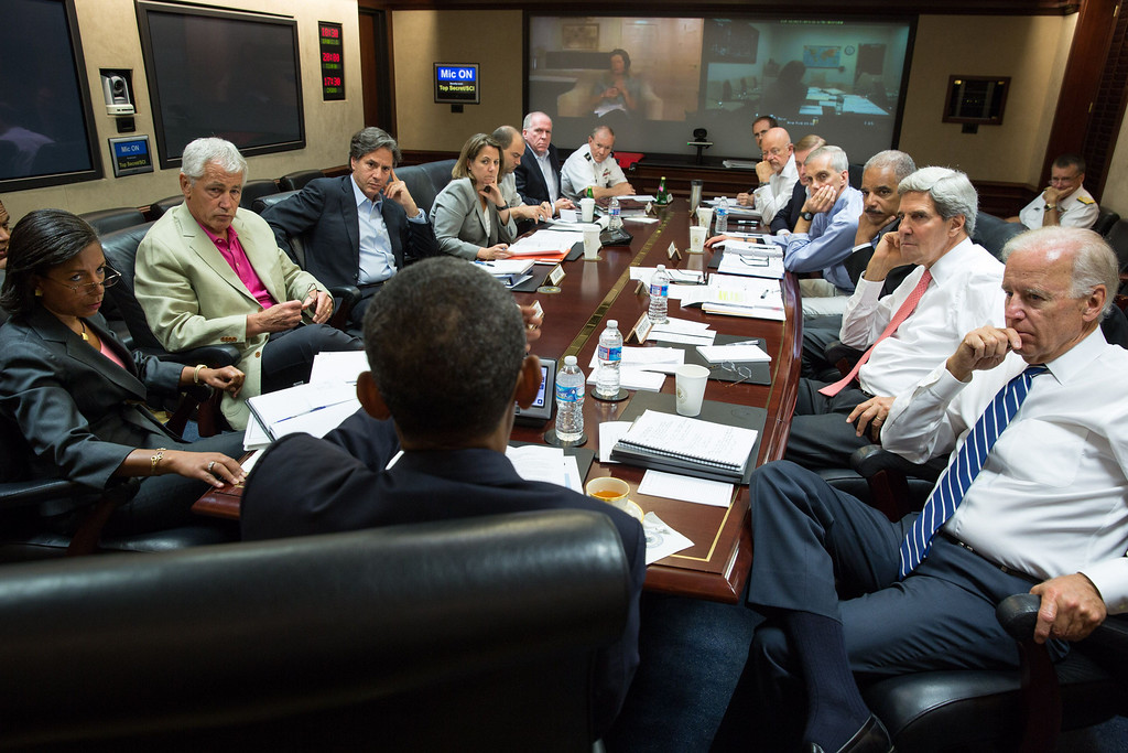 Description of . In this image released by The White House, US President Barack Obama (C) meets in the Situation Room with his national security advisors to discuss strategy in Syria on August 31, 2013. Obama said on August 31 he will ask the US Congress to authorize military action against Syria, lifting the threat of immediate strikes on President Bashar al-Assad's regime. Obama said he had decided he would go ahead and launch military action on Syria, but he believed it was important for American democracy to win the support of lawmakers.  National Security Advisor Susan Rice (L), Defense Secretary Chuck Hagel (2nd L), Assistant to the President for Homeland Security and Counterterrorism Lisa Monaco (4th L), CIA Director John Brennan (6th L) Chairman of the Joint Chiefs Gen. Martin Dempsey (7th L), Vice President Joe Biden (R), State Secretary John Kerry (2nd R), Attorney General Eric Holder (3rd R) and  Director of National Intelligence James Clapper (6th R) attended the meeting. Pete SOUZA/The White House/AFP/Getty Images