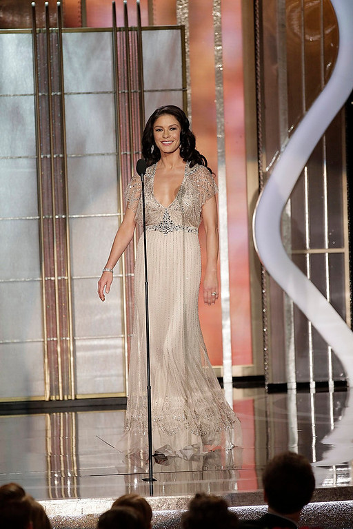 Description of . Presenter Catherine Zeta-Jones on stage at the 70th annual Golden Globe Awards in Beverly Hills, California January 13, 2013, in this picture provided by NBC. REUTERS/Paul Drinkwater/NBC/Handout