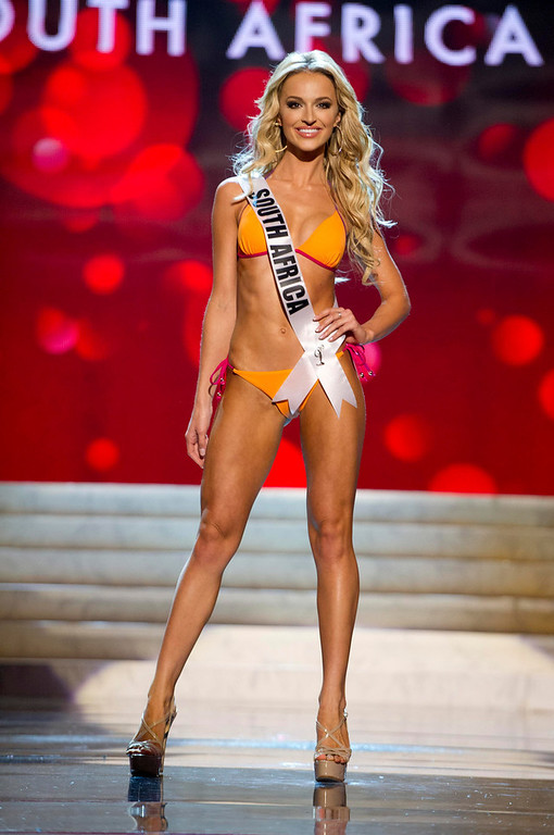 Description of . Miss South Africa Melinda Bam competes in her Kooey Australia swimwear and Chinese Laundry shoes during the Swimsuit Competition of the 2012 Miss Universe Presentation Show at PH Live in Las Vegas, Nevada December 13, 2012. The 89 Miss Universe Contestants will compete for the Diamond Nexus Crown on December 19, 2012. REUTERS/Darren Decker/Miss Universe Organization/Handout
