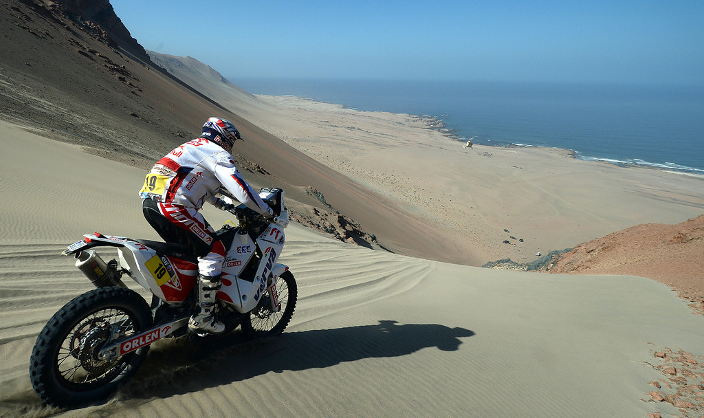 Description of . Poland's Jacek Czachor competes during Stage 3 of the Dakar Rally 2013 between Pisco and Nazca, Peru, on January 7, 2013. The rally will take place in Peru, Argentina and Chile from January 5-20. FRANCK FIFE/AFP/Getty Images