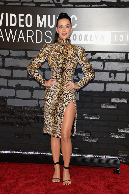 Description of . Katy Perry attends the 2013 MTV Video Music Awards at the Barclays Center on August 25, 2013 in the Brooklyn borough of New York City.  (Photo by Jamie McCarthy/Getty Images for MTV)