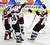 Colorado Avalanche's Matt Duchene, right, skates in to celebrate his game-winning shootout goal against the Minnesota Wild in an NHL hockey game on Thursday, Feb. 14, 2013, in St. Paul, Minn. Duchene also scored in the third period in their 4-3 win. (AP Photo/Jim Mone)