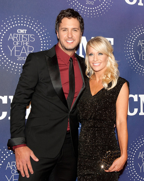 """. Luke Bryan and Caroline Boyer attend the 2012 CMT \""""Artists Of The Year\"""" Awards at The Factory At Franklin on December 3, 2012 in Franklin, Tennessee.  (Photo by Erika Goldring/Getty Images)"""