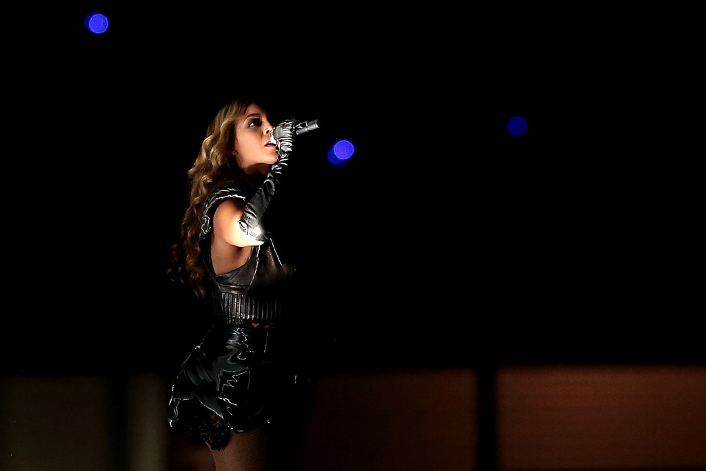 Description of . Singer Beyonce performs during the Pepsi Super Bowl XLVII Halftime Show at the Mercedes-Benz Superdome on February 3, 2013 in New Orleans, Louisiana.  (Photo by Win McNamee/Getty Images)