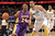 Kobe Bryant #24 of the Los Angeles Lakers drives to the basket against JaVale McGee #34 of the Denver Nuggets at the Pepsi Center on February 25, 2013 in Denver, Colorado. NOTE TO USER: User expressly acknowledges and agrees that, by downloading and or using this photograph, User is consenting to the terms and conditions of the Getty Images License Agreement.  (Photo by Doug Pensinger/Getty Images)