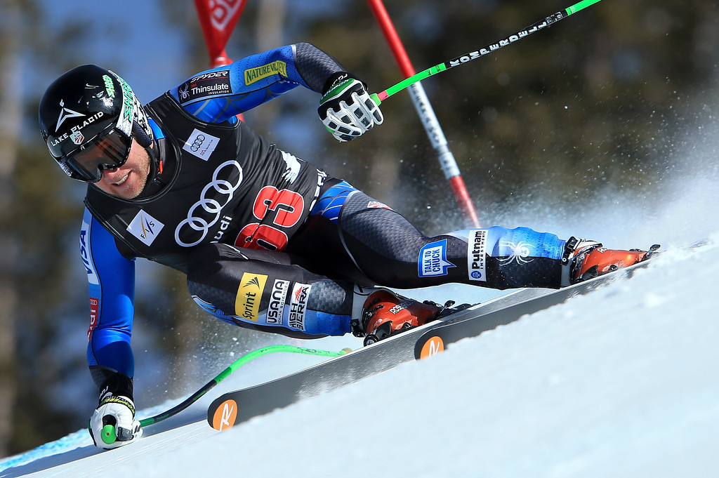 Description of . Andrew Weibrecht of the USA skis to 37th place in the men's downhill on the Birds of Prey at the Audi FIS World Cup on November 30, 2012 in Beaver Creek, Colorado.  (Photo by Doug Pensinger/Getty Images)