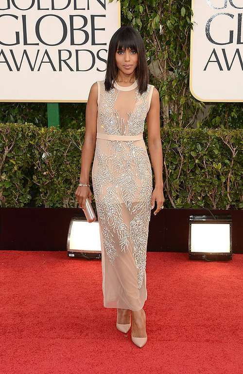 Description of . Actress Kerry Washington arrives at the 70th Annual Golden Globe Awards held at The Beverly Hilton Hotel on January 13, 2013 in Beverly Hills, California.  (Photo by Jason Merritt/Getty Images)