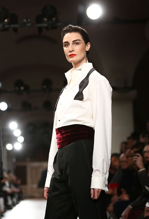 . LONDON, ENGLAND - JANUARY 07:  Erin O\'Connor on the catwalk during the Hackett London show at the London Collections: MEN AW13 at St Paul\'s Cathedral on January 7, 2013 in London, England.  (Photo by Tim Whitby/Getty Images)
