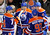 Edmonton Oilers' Shawn Horcoff (C) celebrates his goal with his teammates Jordan Eberle (L), Taylor Hall (R) and Ryan Nugent-Hopkins during the second period of their NHL hockey game against the Colorado Avalanche in Edmonton January 28, 2013.  REUTERS/Dan Riedlhuber