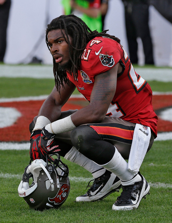 Description of . Tampa Bay Buccaneers strong safety Mark Barron (24) reacts after the Philadelphia Eagles scored the game-winning touchdown with no time left on the clock during the fourth quarter of an NFL football game Sunday, Dec. 9, 2012, in Tampa, Fla. (AP Photo/Chris O\'Meara)