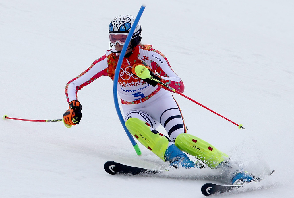 Description of . Maria Hoefl-Riesch of Germany in action during the first run of the Women's Slalom race at the Rosa Khutor Alpine Center during the Sochi 2014 Olympic Games, Krasnaya Polyana, Russia, 21 February 2014.  EPA/KARL-JOSEF HILDENBRAND