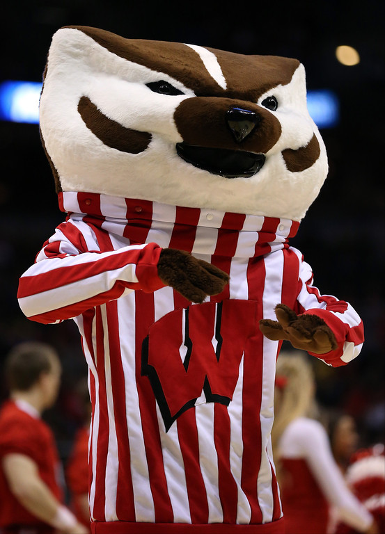 Description of . The Wisconsin Badgers mascot, Bucky Badger, performs during the second round game of NCAA Basketball Tournament against the American University Eagles at BMO Harris Bradley Center on March 20, 2014 in Milwaukee, Wisconsin.  (Photo by Jonathan Daniel/Getty Images)