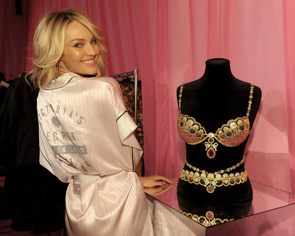 Description of . Model Candice Swanepoel poses at the 2013 Victoria's Secret Fashion Show hair and make-up room at Lexington Avenue Armory on November 13, 2013 in New York City.  (Photo by Dimitrios Kambouris/Getty Images for Victoria's Secret)