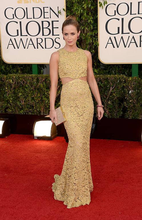 Description of . Actress Emily Blunt arrives at the 70th Annual Golden Globe Awards held at The Beverly Hilton Hotel on January 13, 2013 in Beverly Hills, California.  (Photo by Jason Merritt/Getty Images)