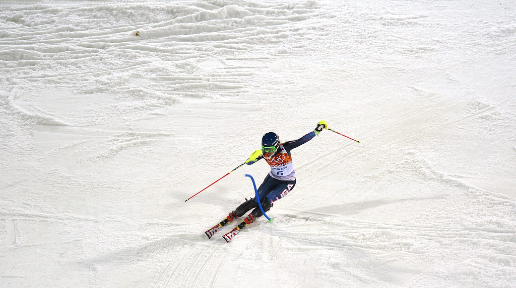 Description of . Mikaela Shiffrin of the US in action during the second run of the Women's Slalom race at the Rosa Khutor Alpine Center during the Sochi 2014 Olympic Games, Krasnaya Polyana, Russia, 21 February 2014.  EPA/JUSTIN LANE