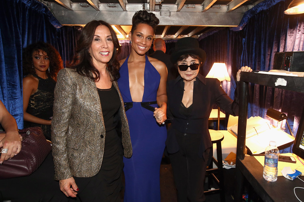 Description of . (L-R) Olivia Harrison, singer Alicia Keys and musician Yoko Ono attend the 56th GRAMMY Awards at Staples Center on January 26, 2014 in Los Angeles, California.  (Photo by Christopher Polk/Getty Images)