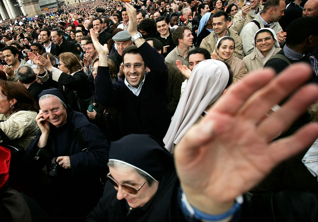 Description of . Crowds gather in St Peter's square on April 19, 2005  in Vatican City. German Cardinal Joseph Ratzinger, Pope Benedict XVI, was elected the 265th pope and will lead the world's 1 billion Catholics.  (Photo by Chris Jackson/Getty Images)