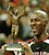 Chicago Bulls star Michael Jordan holds up the best player trophy after winning the final of the McDonald's Championship against Olympiakos Piraeus of Greece at the Paris Bercy stadium on Saturday Oct. 18, 1997. Score was 104-78.(AP PHOTO/Michel Lipchitz)