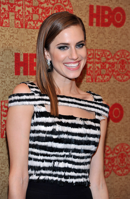 Description of . Allison Williams arrives at the HBO Golden Globes after party at the Beverly Hilton Hotel on Sunday, Jan. 12, 2014, in Beverly Hills, Calif. (Photo by Richard Shotwell/Invision/AP)