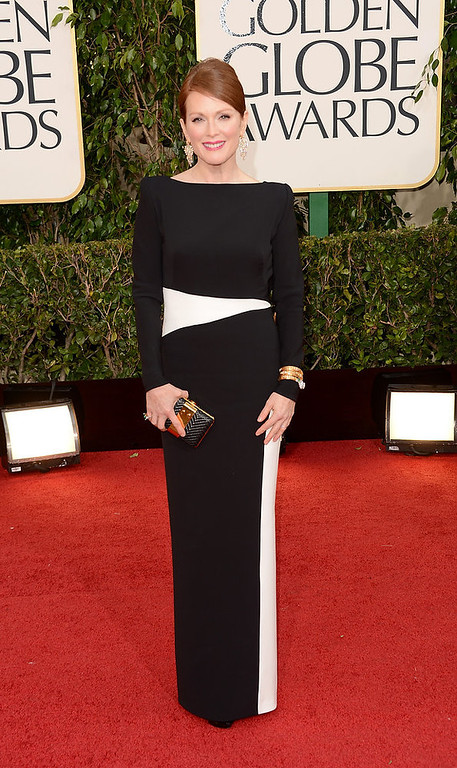 Description of . Actress Julianne Moore arrives at the 70th Annual Golden Globe Awards held at The Beverly Hilton Hotel on January 13, 2013 in Beverly Hills, California.  (Photo by Jason Merritt/Getty Images)