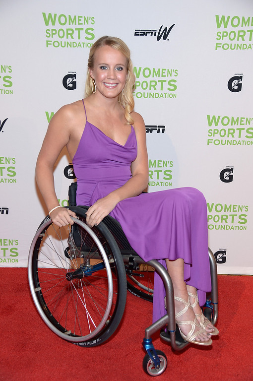 Description of . NEW YORK, NY - OCTOBER 16:  Paralympic swimmer Mallory Weggemann attends the 34th annual Salute to Women In Sports Awards at Cipriani, Wall Street on October 16, 2013 in New York City.  (Photo by Michael Loccisano/Getty Images for the Women's Sports Foundation)