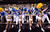 SALT LAKE CITY, UT - MARCH 21:  The Southern University Jaguars cheerleaders perform during the second round of the 2013 NCAA Men's Basketball Tournament against the Gonzaga Bulldogs at EnergySolutions Arena on March 21, 2013 in Salt Lake City, Utah.  (Photo by Harry How/Getty Images)