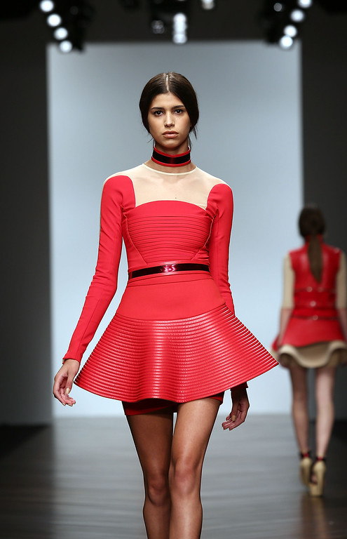 Description of . LONDON, ENGLAND - FEBRUARY 16:  A model walks the runway at the David Koma show during London Fashion Week Fall/Winter 2013/14 at Somerset House on February 16, 2013 in London, England.  (Photo by Tim Whitby/Getty Images)