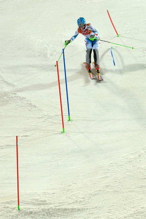 Description of . Austria's Kathrin Zettel makes her run during ladies' slalom run 2. Sochi 2014 Winter Olympics on Friday, February 21, 2014 at Rosa Khutor Alpine Center. (Photo by AAron Ontiveroz/ The Denver Post)