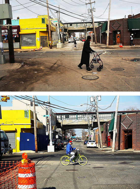 Description of . NEW YORK, NY - NOVEMBER 19:  (top)  A man walks through the heavily damaged section November 19, 2012 in the Rockaway neighborhood of the Queens borough of New York City. NEW YORK, NY - OCTOBER 23:  (bottom)  A man rids a bike October 23, 2013 in the Rockaway neighborhood of the Queens borough of New York City. Hurricane Sandy made landfall on October 29, 2012 near Brigantine, New Jersey and affected 24 states from Florida to Maine and cost the country an estimated $65 billion.  (Photos by Spencer Platt/Getty Images)