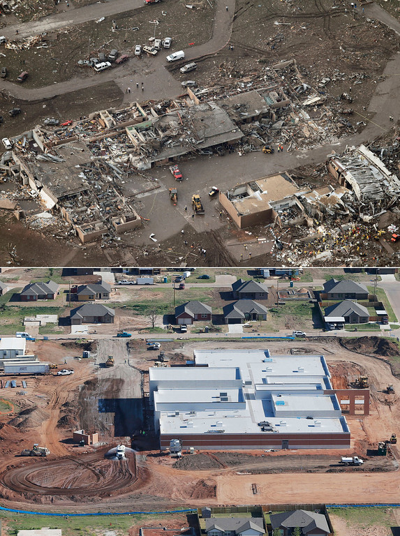 Description of . This aerial photo combination shows the damage to the Tower Plazas Elementary School, May 21, 2013, in Moore, Okla., after seven students died when a massive tornado hit school on May 20, top, and reconstruction continues at the school on May 15, 2014, bottom. (AP Photo)