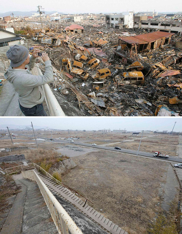 Description of . The tsunami-devastated Ishinomaki, Miyagi prefecture, is pictured in this combination photo taken March 19, 2011 (top) and March 1, 2013, released by Kyodo on March 7, 2013, ahead of the two-year anniversary of the March 11 earthquake and tsunami.      REUTERS/Kyodo