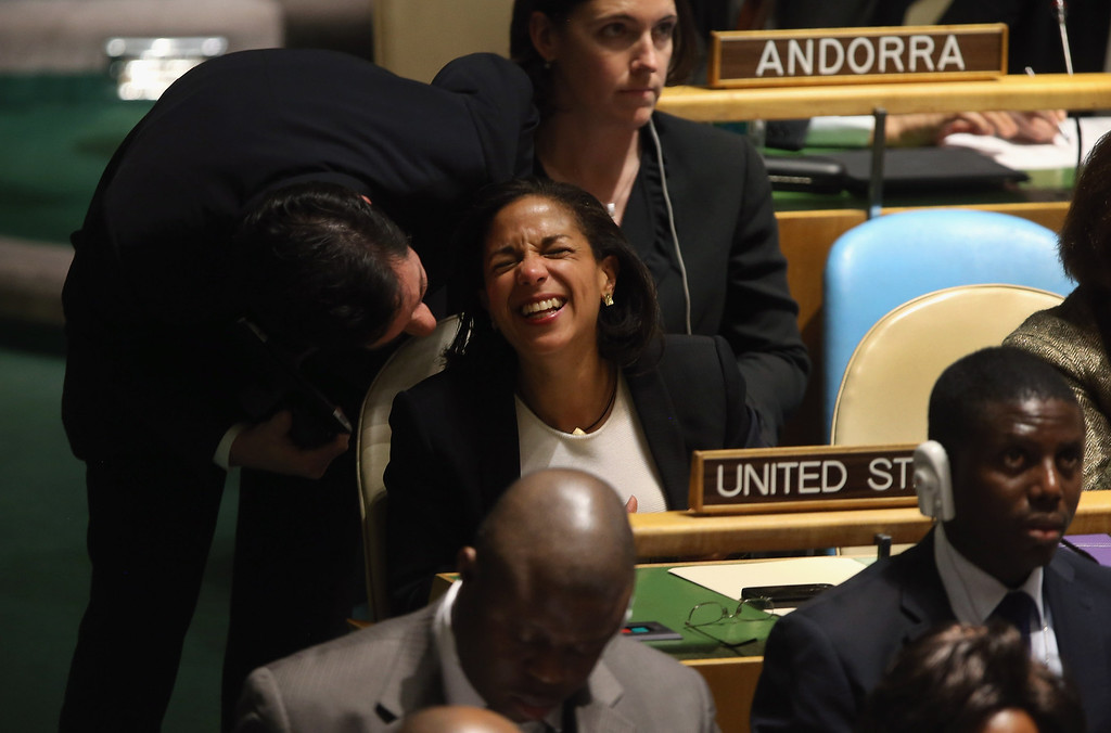 Description of . NEW YORK, NY - NOVEMBER 29:  Susan Rice, the American ambassador to the United Nations is congratulated after speaking at the UN General Assembly on November 29, 2012 in New York City. The United States voted against an historic resolution granting