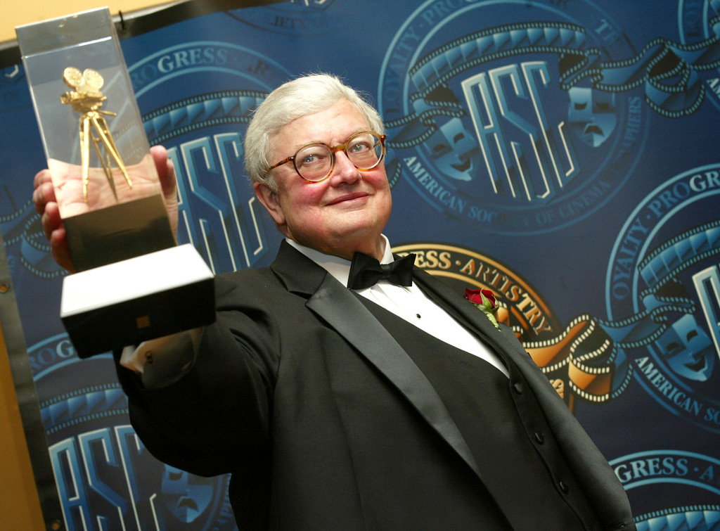 Description of . Film Critic Roger Ebert receives a special award of recognition at the American Society of Cinematographers 17th Annual Outstanding Achievement Awards at the Century Plaza Hotel on February 16, 2003 in Los Angeles, California.  (Photo by Kevin Winter/Getty Images)