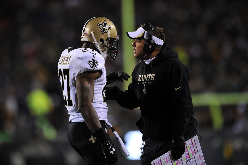 . PHILADELPHIA, PA - JANUARY 04:  Head coach Sean Payton of the New Orleans Saints talks with Malcolm Jenkins #27 against the Philadelphia Eagles during their NFC Wild Card Playoff game at Lincoln Financial Field on January 4, 2014 in Philadelphia, Pennsylvania.  (Photo by Al Bello/Getty Images)