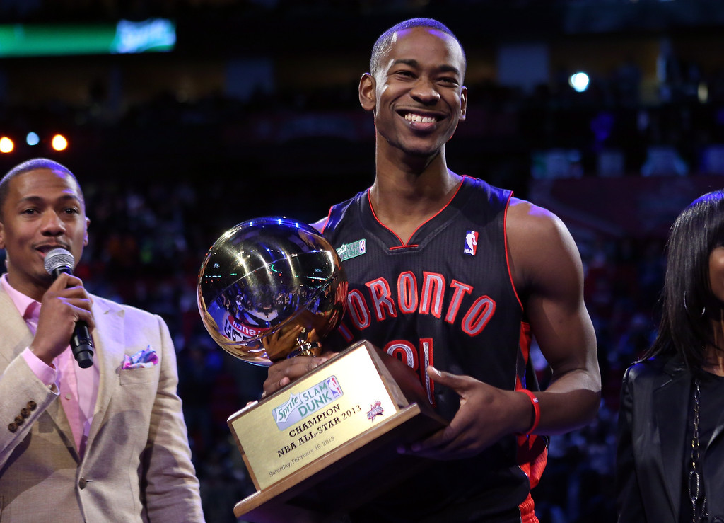 Description of . HOUSTON, TX - FEBRUARY 16:  Terrence Ross of the Toronto Raptors celebrates after winning the Sprite Slam Dunk Contest part of 2013 NBA All-Star Weekend at the Toyota Center on February 16, 2013 in Houston, Texas.  (Photo by Ronald Martinez/Getty Images)