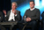 Actors Michael Douglas (L) and Matt Damon speak onstage during the 