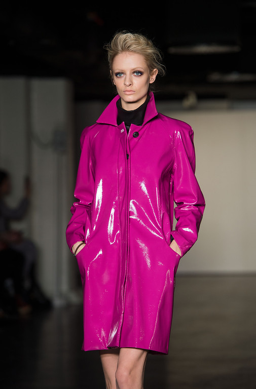 Description of . LONDON, ENGLAND - FEBRUARY 16: A model walks the catwalk during the Antipodium show at the London Film Museum during London Fashion Week Fall/Winter 2013/14 on February 16, 2013 in London, England. (Photo by Samir Hussein/Getty Images)