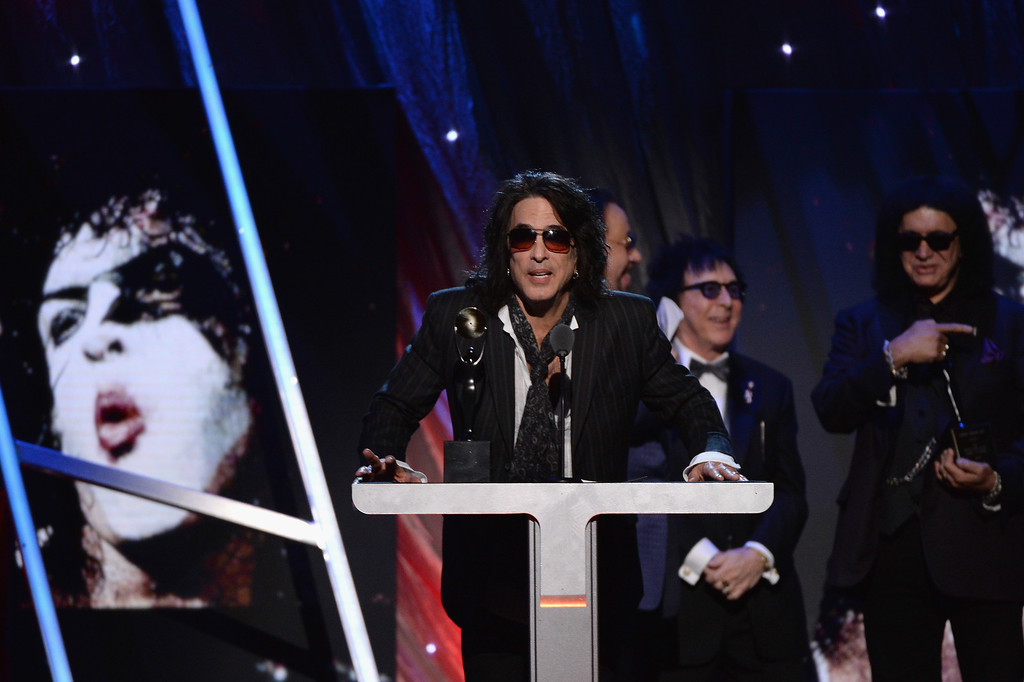 Description of . Inductee Paul Stanley of KISS speaks onstage at the 29th Annual Rock And Roll Hall Of Fame Induction Ceremony at Barclays Center of Brooklyn on April 10, 2014 in New York City.  (Photo by Larry Busacca/Getty Images)
