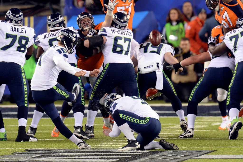 Description of . Seattle Seahawks kicker Steven Hauschka (4) kicks a Seahawks field goal in the first quarter.  The Denver Broncos vs the Seattle Seahawks in Super Bowl XLVIII at MetLife Stadium in East Rutherford, New Jersey Sunday, February 2, 2014. (Photo by Hyoung Chang//The Denver Post)