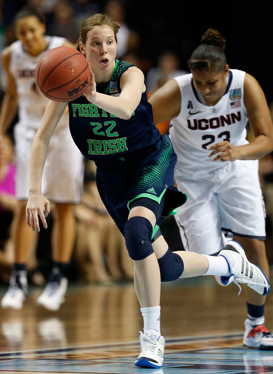 Description of . Notre Dame guard Madison Cable (22) brings the ball up court against Connecticut during the second half of the championship game in the Final Four of the NCAA women's college basketball tournament, Tuesday, April 8, 2014, in Nashville, Tenn. (AP Photo/Mark Humphrey)